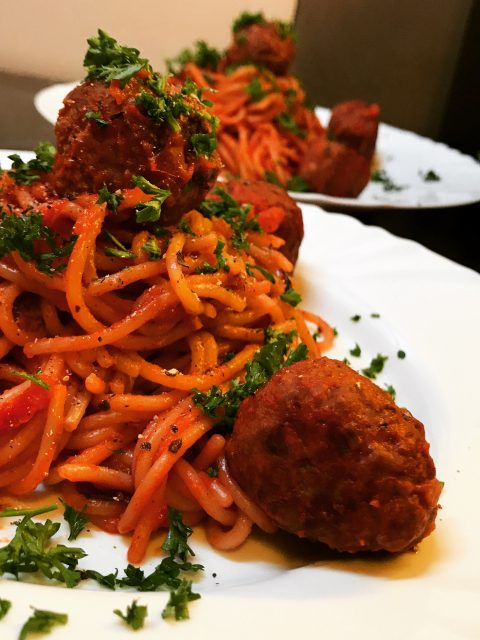 Spaghetti and Meatballs and red wine sauce