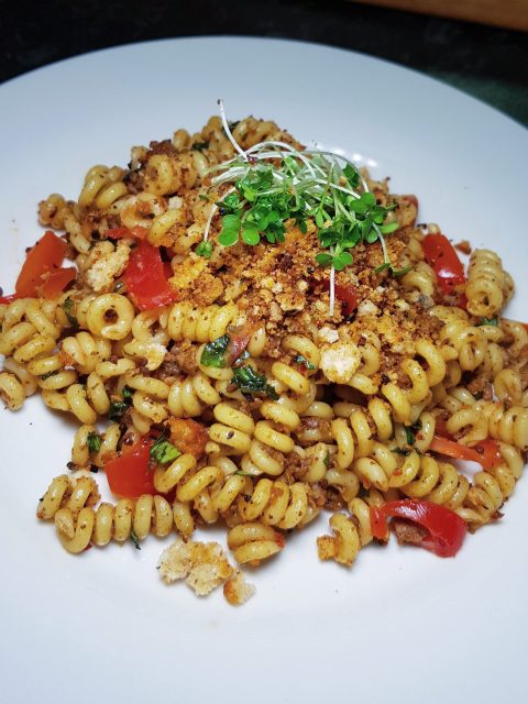 Fusilli Bucati with beef, garlic, olive oil, chilli flakes, spicy pangrattato, fresh tomato and basil