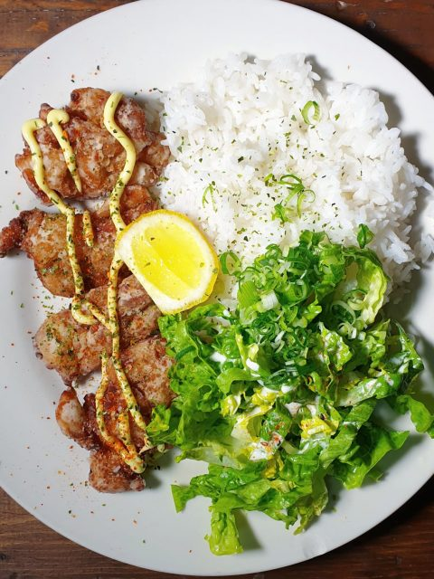 Karaage - Japanese Fried chicken with rice and salad